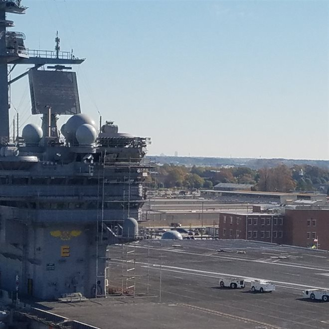 Town Center shown from decks of CVN-78 Gerald Ford