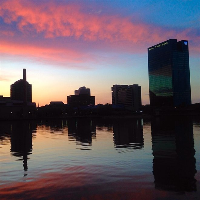 Downtown Toledo at Sunset